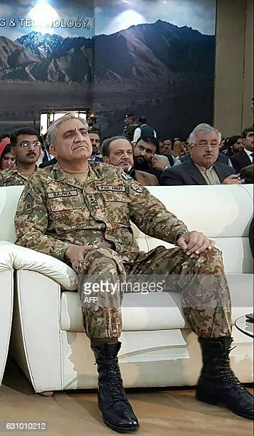 Pakistan Army Chief General Qamar Javed Bajwa looks on during a seminar on Chinese investment at The Engineering University of Khuzdar in Khuzdar...
