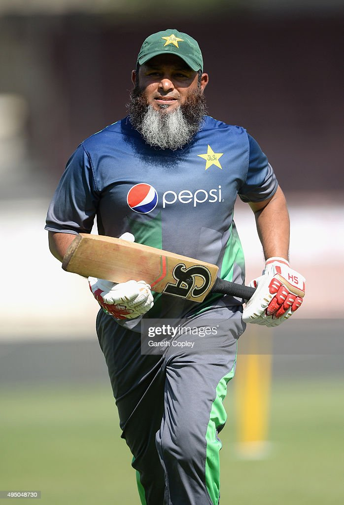 Pakistan assistant coach Mushtaq Ahmed during a nets session at Sharjah Cricket Stadium on October 31, 2015 in Sharjah, United Arab Emirates.