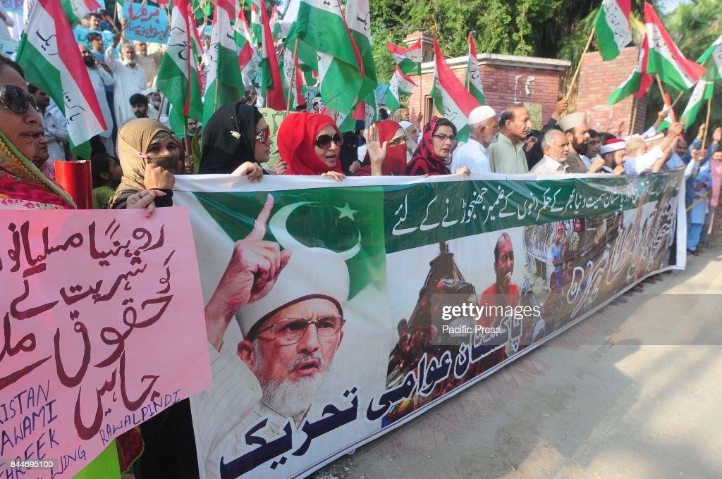 RAWALPINDI PUNJAB PAKISTAN Pakistan Awami Tahreek protesters rally against ongoing violence against the Rohingya Muslim minority in Myanmar in...