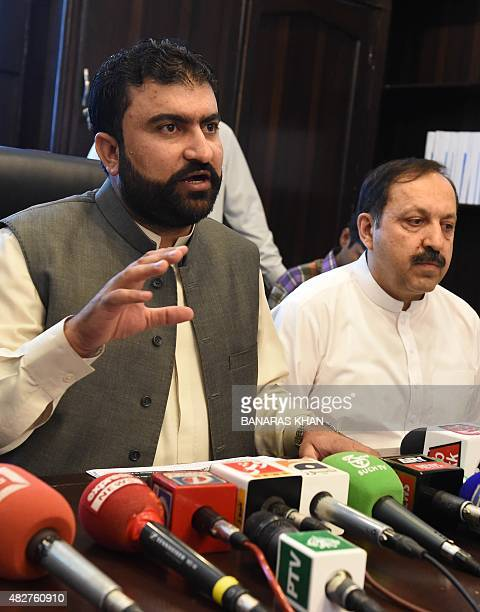 Pakistan Baluchistan province home minister Sarfraz Bugti and Akhtar Durrani home secretary address a media briefing in Quetta on August 2 2015...