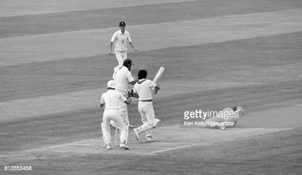 Pakistan batsman Abdul Qadir is caught for 9 by England fielder Derek Randall and England are one wicket away from winning the 1st Test match between...