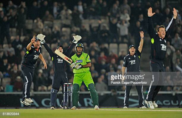 Pakistan batsman Abdul Razzaq is given not out as England bowler Graeme Swann and teammates appeal for lbw off the hattrick ball during the NatWest...
