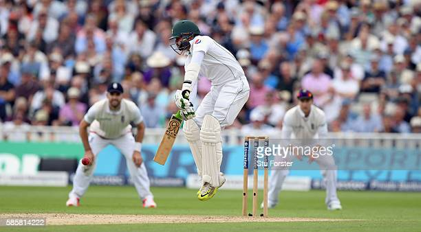 Pakistan batsman Azhar Ali bats during day two of the 3rd Investec Test Match between England and Pakistan at Edgbaston on August 4 2016 in...