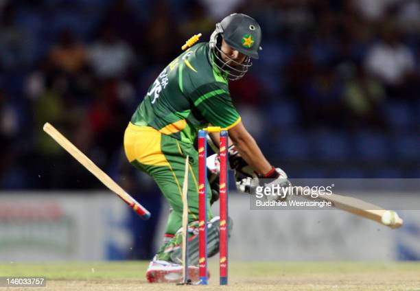 Pakistan batsman Azhar Ali bowled during the second one day international match between Sri Lanka and Pakistan at Pallekele Cricket Stadium on June 9...
