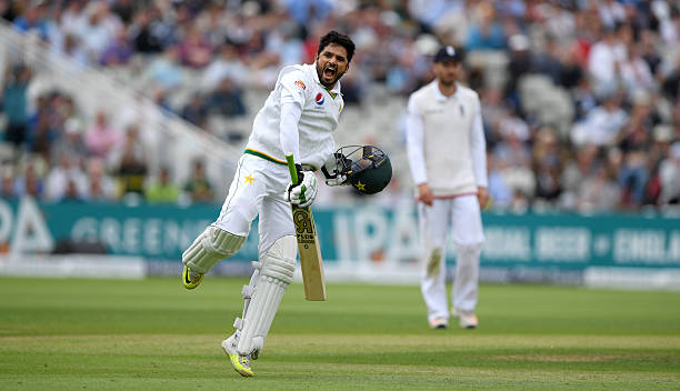 Pakistan batsman Azhar Ali celebrates his century during day two of the 3rd Investec Test Match between England and Pakistan at Edgbaston on August 4. Perhaps one of the most underrated test match batsmen