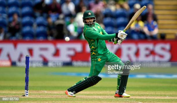 Pakistan batsman Azhar Ali hits out during the ICC Champions League match between Sri Lanka and Pakistan at SWALEC Stadium on June 12 2017 in Cardiff...