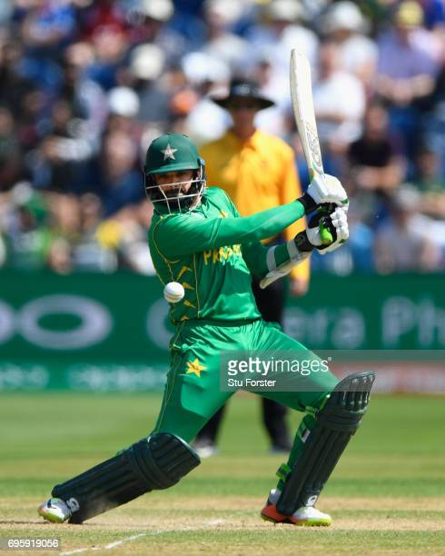Pakistan batsman Azhar Ali hits out during the ICC Champions Trophy semi final between England and Pakistan at SWALEC Stadium on June 14 2017 in...
