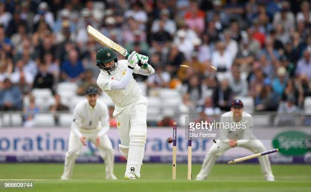 Pakistan batsman Azhar Ali is bowled by James Anderson during day three of the 2nd Test Match between England and Pakistan at Headingley on June 3...