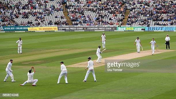 Pakistan batsman Azhar Ali is caught by Alastair Cook off the bowling of Chris Woakes off the last ball of the day during day two of the 3rd Investec...