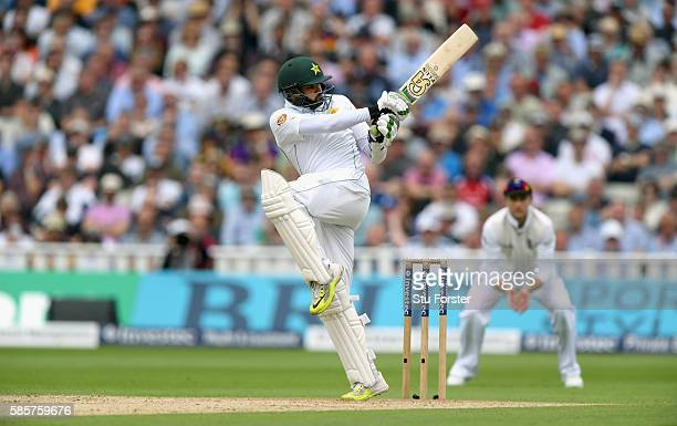Pakistan batsman Azhar Ali pulls a ball towards the boundary during day two of the 3rd Investec Test Match between England and Pakistan at Edgbaston...