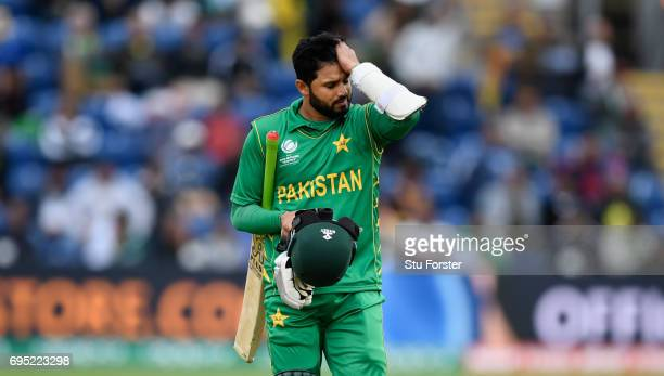 Pakistan batsman Azhar Ali reacts after being dismissed during the ICC Champions League match between Sri Lanka and Pakistan at SWALEC Stadium on...