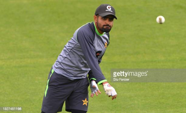 Pakistan batsman Babar Azam in fielding action during nets ahead of the 1st ODI between England and Pakistan at Sophia Gardens on July 07, 2021 in...