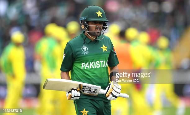 Pakistan batsman Babar Azam leaves the field after being dismissed for 30 runs during the Group Stage match of the ICC Cricket World Cup 2019 between...