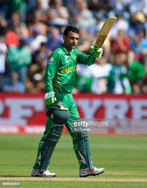Pakistan batsman Fakhar Zaman celebrates his half century during the ICC Champions Trophy semi final between England and Pakistan at SWALEC Stadium...