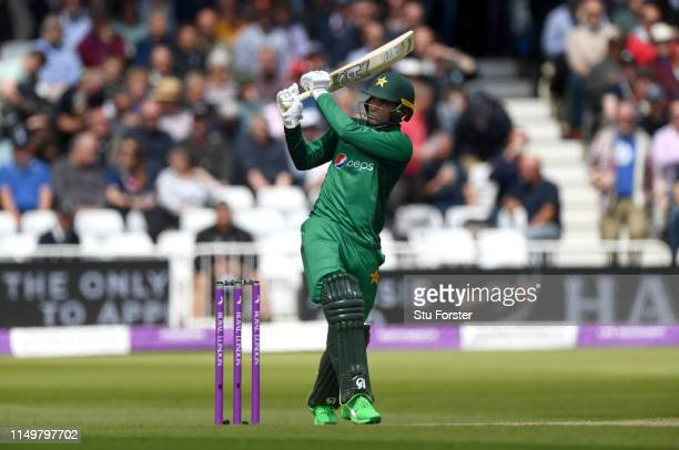 Pakistan batsman Fakhar Zaman hits a six off Mark Wood during the 4TH One Day International between England and Pakistan at Trent Bridge on May 17,...