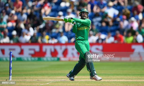 Pakistan batsman Fakhar Zaman hits out during the ICC Champions Trophy semi final between England and Pakistan at SWALEC Stadium on June 14 2017 in...