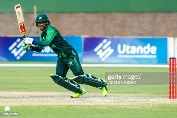 Pakistan batsman Fakhar Zaman in action during the final of the triseries played between Pakistan and Australia in a T20 triseries which at the...