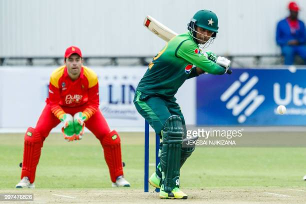 Pakistan batsman Fakhar Zaman in action during the first of a 5 match ODI series cricket match between Pakistan and Zimbabwe at Queens Sports Club in...