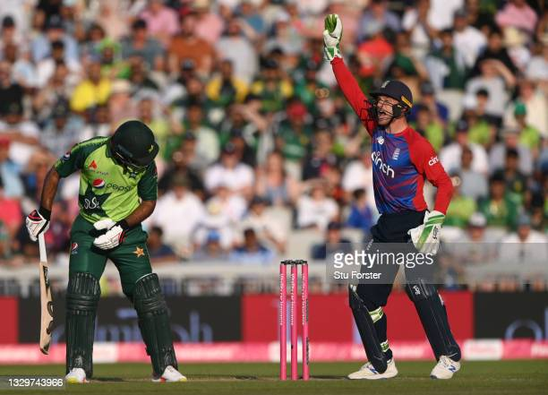 Pakistan batsman Fakhar Zaman is out lbw after review as Jos Buttler appeals during the 3rd Vitality T20 match between England and Pakistan at...