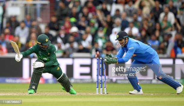Pakistan batsman Fakhar Zaman survives a close stumping by India wicketkeepers MS Dhoni during the Group Stage match of the ICC Cricket World Cup...