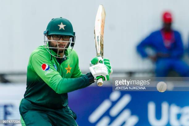 Pakistan batsman Imam Ul Haq in action during the first of a 5 match ODI series cricket match between Pakistan and Zimbabwe at Queens Sports Club in...