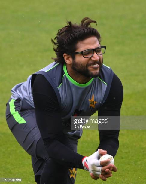 Pakistan batsman Imam-ul-Haq in fielding action during nets ahead of the 1st ODI between England and Pakistan at Sophia Gardens on July 07, 2021 in...