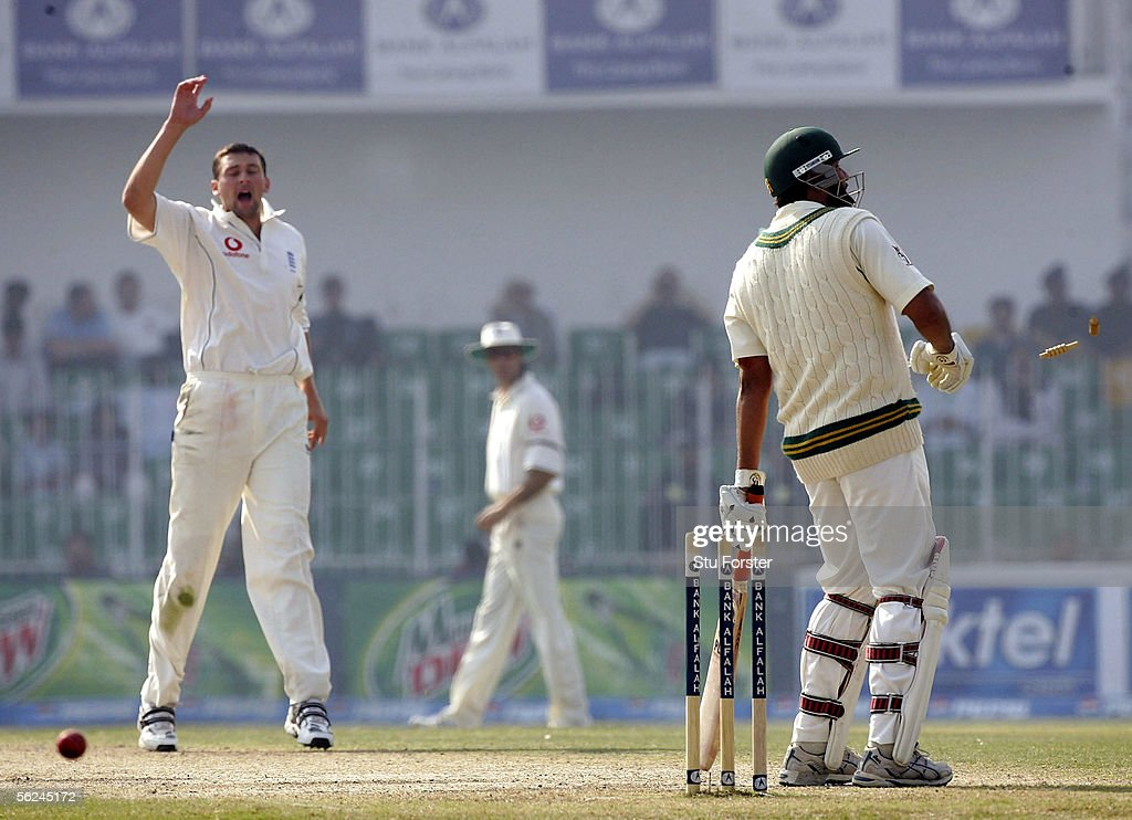Pakistan batsman Inzamam-Ul-Haq is run out by England bowler Steve Harmison during The Second Day of the Second Test Match between Pakistan and England at Iqbal Faisalabad Cricket Stadium on November 21, 2005 in Faisalabad, Pakistan.