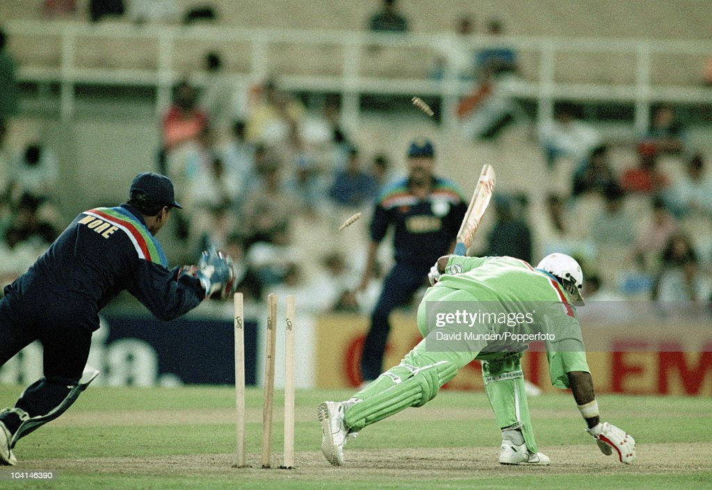 Pakistan batsman Javed Miandad survived this stumping attempt by Indian wicketkeeper Kiran More during the World Cup match between Pakistan and India at the Sydney Cricket Ground, 4th March 1992. India won by 43 runs.