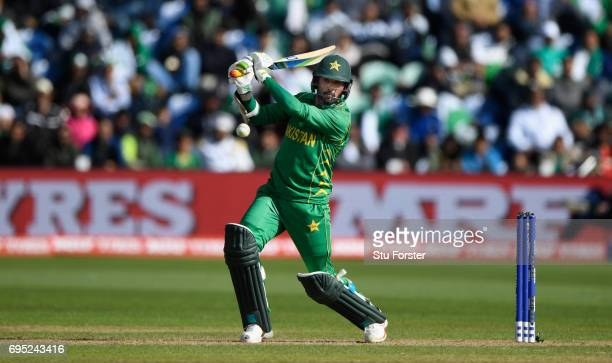 Pakistan batsman Mohammad Amir hits out during the ICC Champions League match between Sri Lanka and Pakistan at SWALEC Stadium on June 12 2017 in...