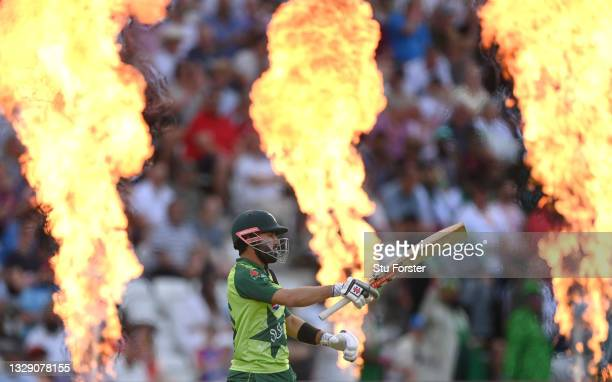 Pakistan batsman Mohammad Rizwan comes out to bat during the 1st T20 match between England and Pakistan at Trent Bridge on July 16, 2021 in...
