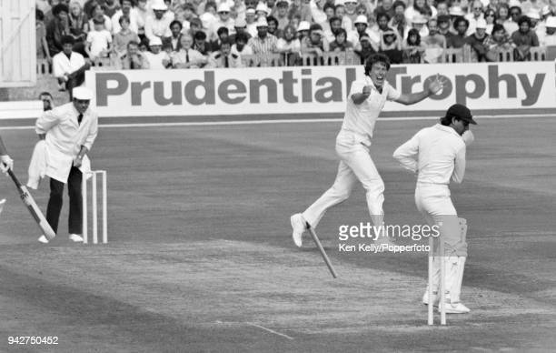 Pakistan batsman Mohsin Khan is bowled by Derek Pringle of England in the 2nd Prudential Trophy One Day International between England and Pakistan at...