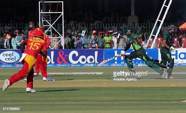 Pakistan batsman Muhammad Hafeez in action during the first One Day International match between Pakistan and Zimbabwe at the Gaddafi Cricket Stadium...