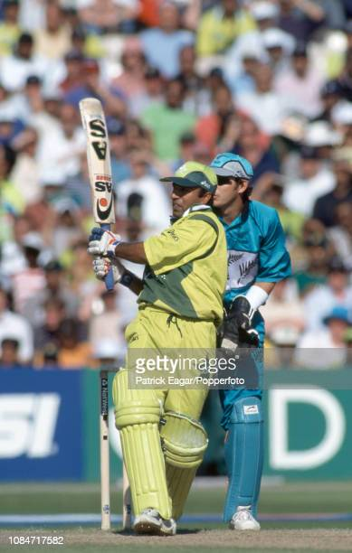 Pakistan batsman Saeed Anwar hits out during his innings of 113 not out in the World Cup Semi Final between New Zealand and Pakistan at Old Trafford...