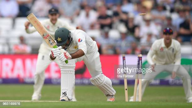Pakistan batsman Sarfraz Ahmed is bowled by James Anderson during day one of the second Test Match between England and Pakistan at Headingley on June...