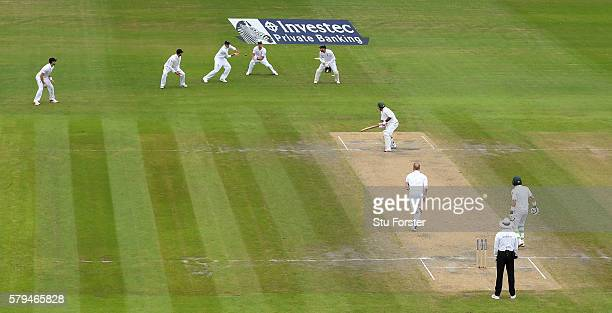 Pakistan batsman Sarfraz Ahmed is caught by Joe Root at second slip off the bowling of Ben Stokes during day three of the 2nd Investec Test match...