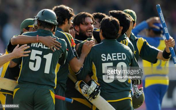 Pakistan batsman Shahid Afridi celebrates with teammates as Pakistan win the ICC World Twenty20 Final between Pakistan and Sri Lanka by 8 wickets at...