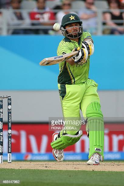 Pakistan batsman Shahid Afridi flicks the ball during the Pool B 2015 Cricket World Cup match between South Africa and Pakistan at Eden Park on March...