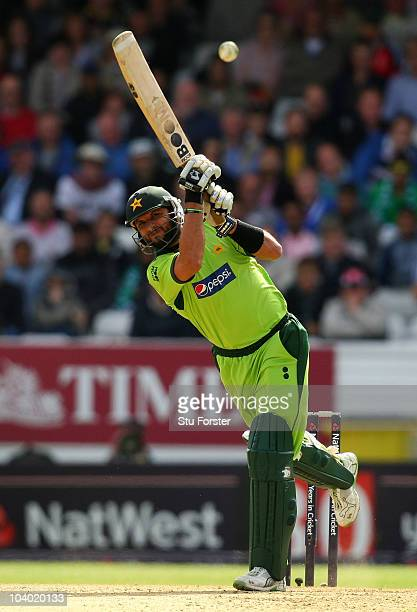 Pakistan batsman Shahid Afridi picks up some runs during the 2nd NatWest ODI match between England and Pakistan at Headingley Carnegie on September...
