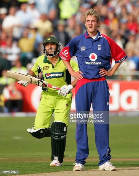 Pakistan batsman Shahid Afridi runs past England bowler Stuart Broad during the NatWest International Twenty20 match between England and Pakisan at...