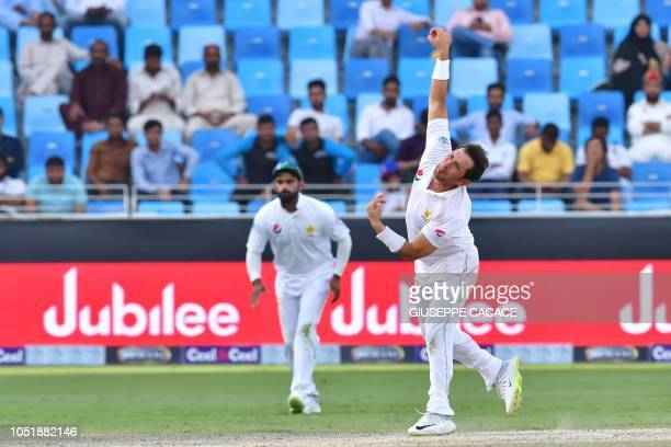 Pakistan batsman Yasir Shah bowls during day five of the first Test cricket match in the series between Australia and Pakistan at the Dubai...