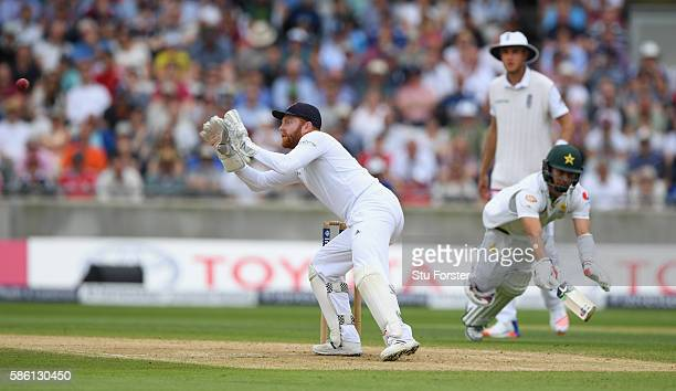 Pakistan batsman Yasir Shah dives full length for his ground but is run out by England wicketkeeper Jonny Bairstow during day 3 of the 3rd Investec...