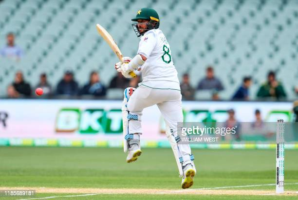 Pakistan batsman Yasir Shah flicks a ball away from the Australian bowling on the third day of the second cricket Test match in Adelaide on December...
