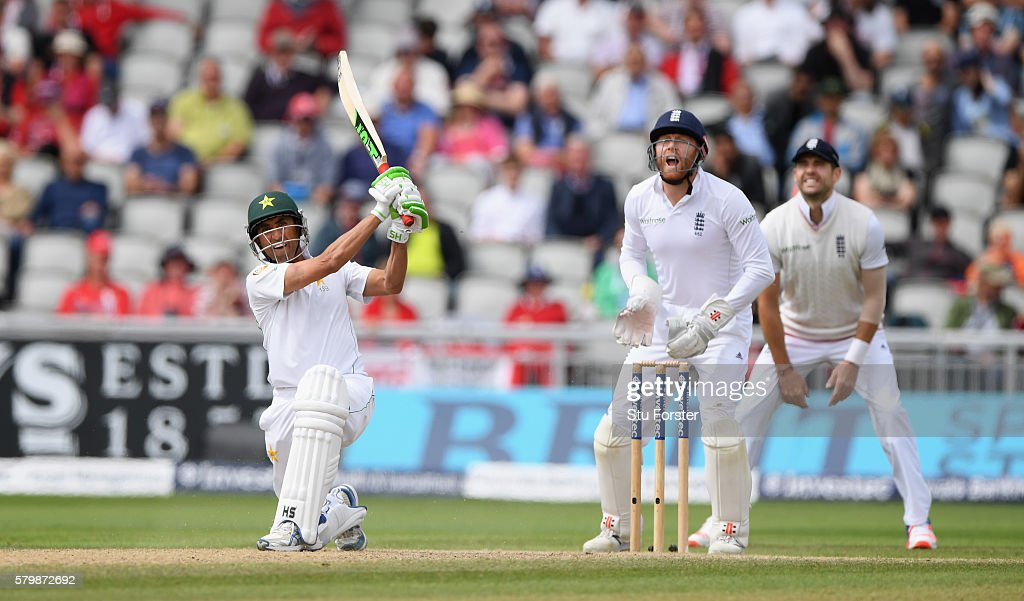 Pakistan batsman Younis Khan hits Moeen Ali only to be caught by Alex Hales on the boundary during day four of the 2nd Investec Test match between England and Pakistan at Old Trafford on July 25, 2016 in Manchester, England.