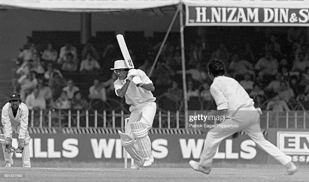 Pakistan batsman Zaheer Abbas drives Mohinder Amarnath of India during his innings of 235 not out in the 2nd Test match between Pakistan and India at.