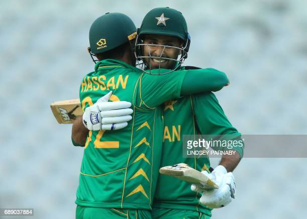 Pakistan batsmen Fahim Ashraf and Hasan Ali celebrate victory over Bangaldesh after the ICC Champions Trophy Warmup match between Pakistan and...