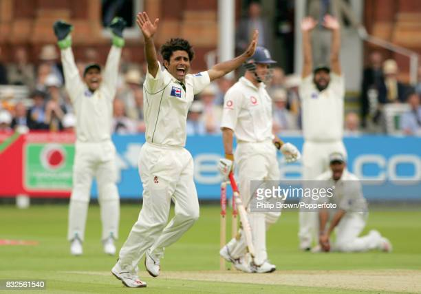 Pakistan bowler Abdul Razzaq appeals successfully for the wicket of England captain Andrew Strauss LBW for 30 runs during the 1st Test match between...