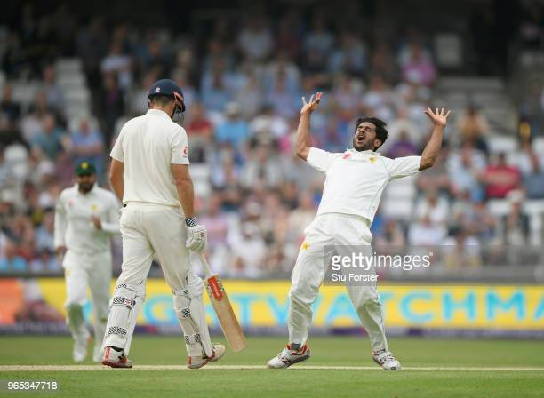 Pakistan bowler Hasan Ali celebrates after dismissing Alastair Cook during day one of the second Test Match between England and Pakistan at...