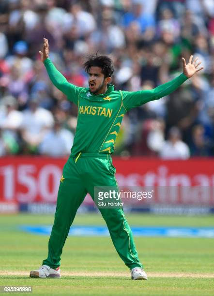 Pakistan bowler Hasan Ali celebrates after dismissing England batsman Ben Stokes during the ICC Champions Trophy semi final between England and...