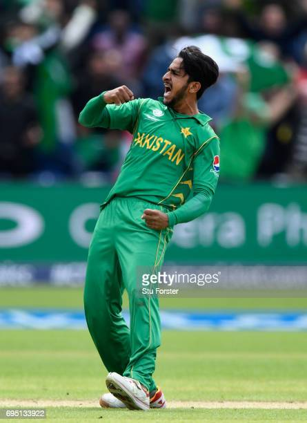 Pakistan bowler Hasan Ali celebrates after dismissing Mendis during the ICC Champions League match between Sri Lanka and Pakistan at SWALEC Stadium...