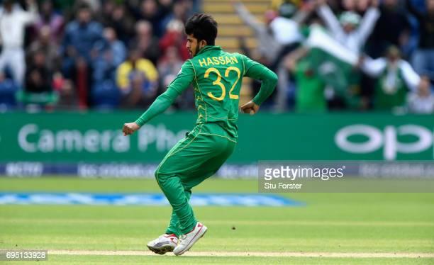 Pakistan bowler Hasan Ali celebrates after dismissing Mendis during the ICC Champions League match between Sri Lanka and Pakistan at SWALEC Stadium...